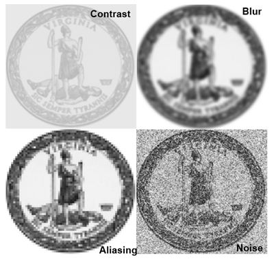 Graphic showing different resolutions of state seal