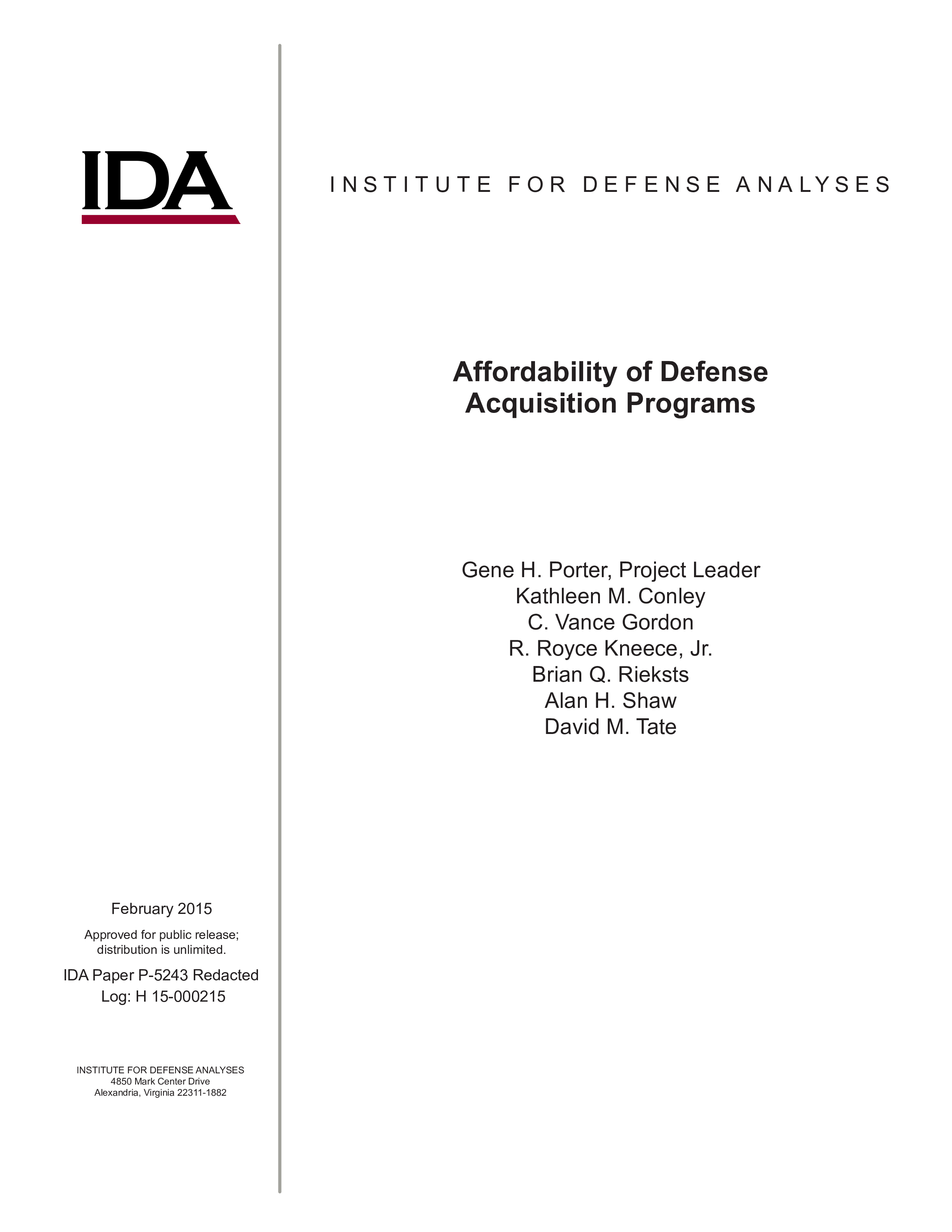 Affordability of Defense Acquisition Programs