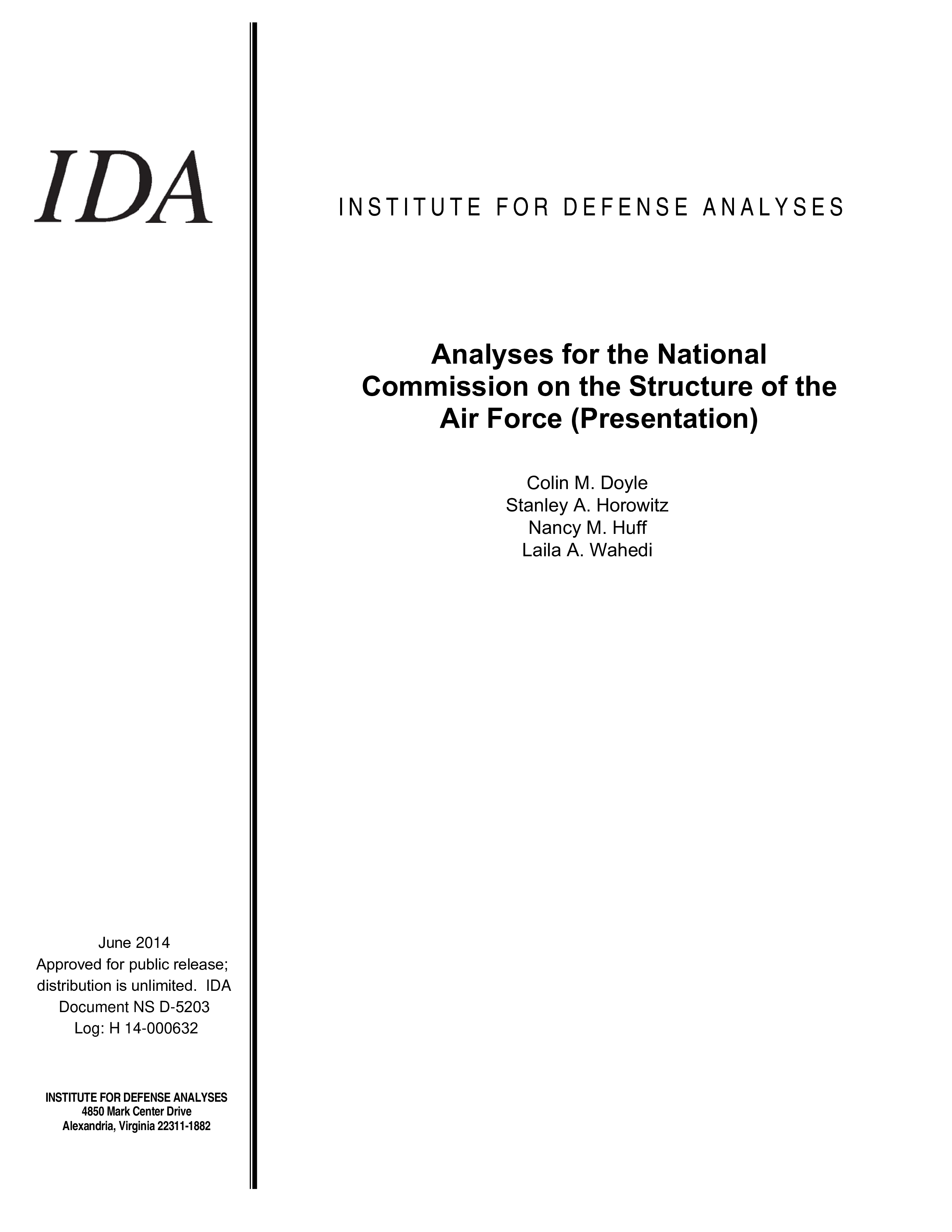 Analyses for the National Commission on the Structure of the Air Force Presentation