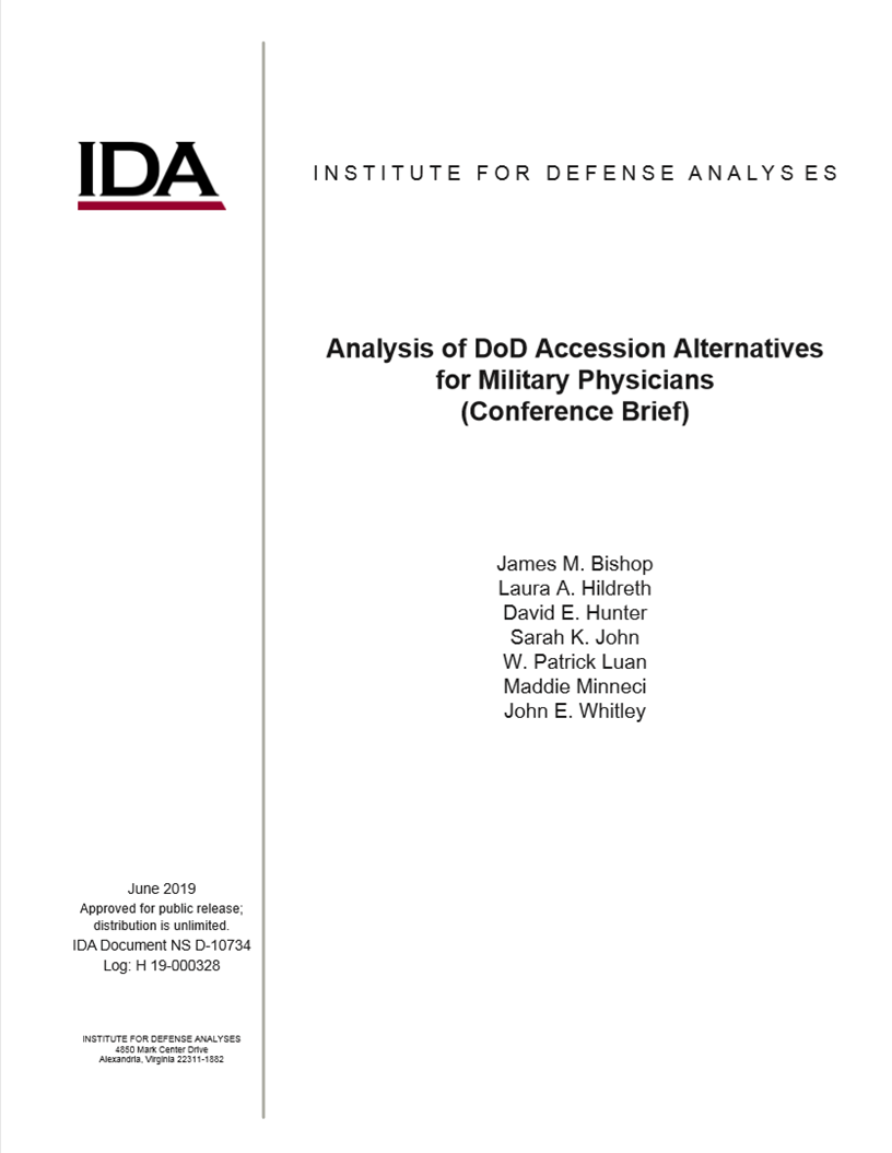 document cover - Analysis of DoD Accession Alternatives for Military Physicians (Conference Brief)