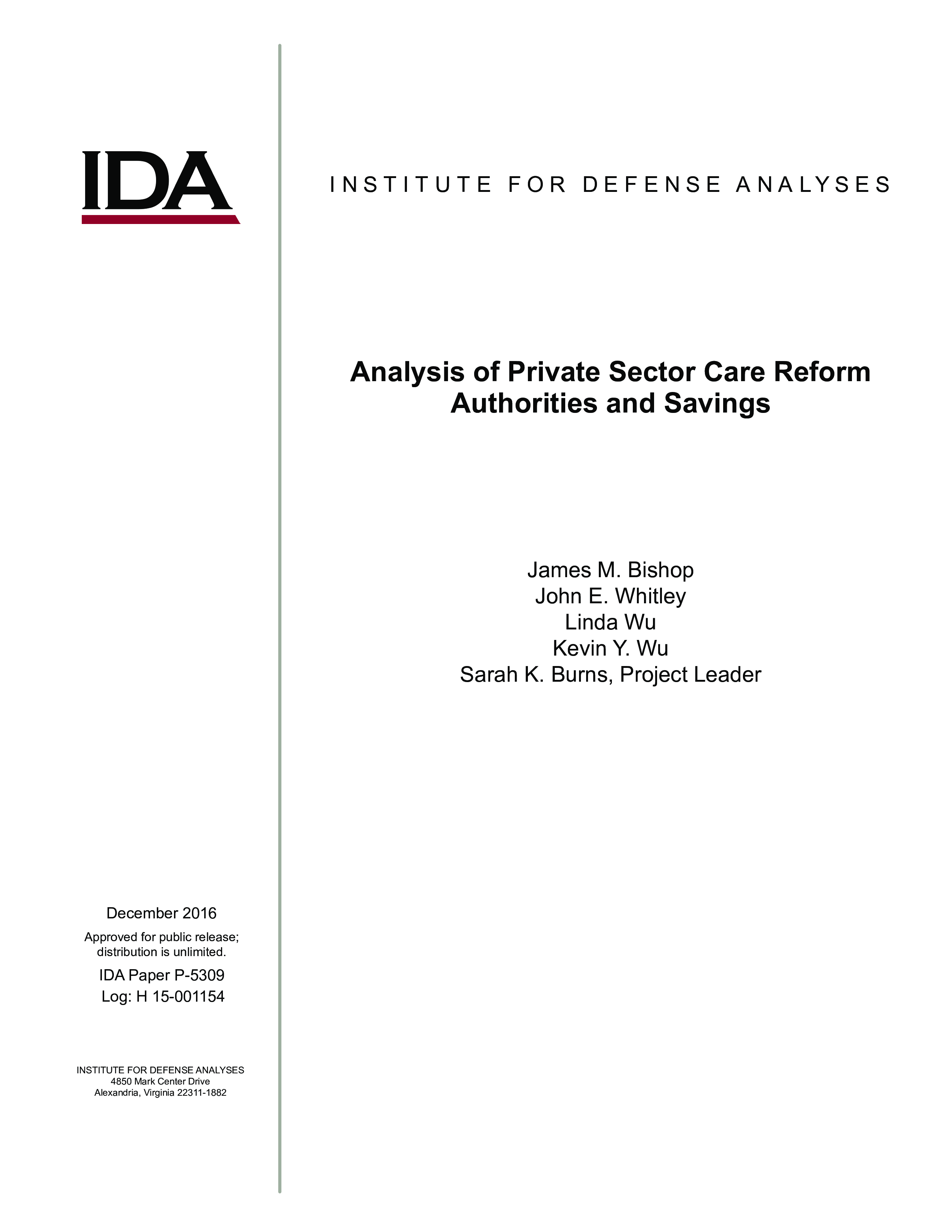 Analysis of Private Sector Care Reform Authorities and Savings