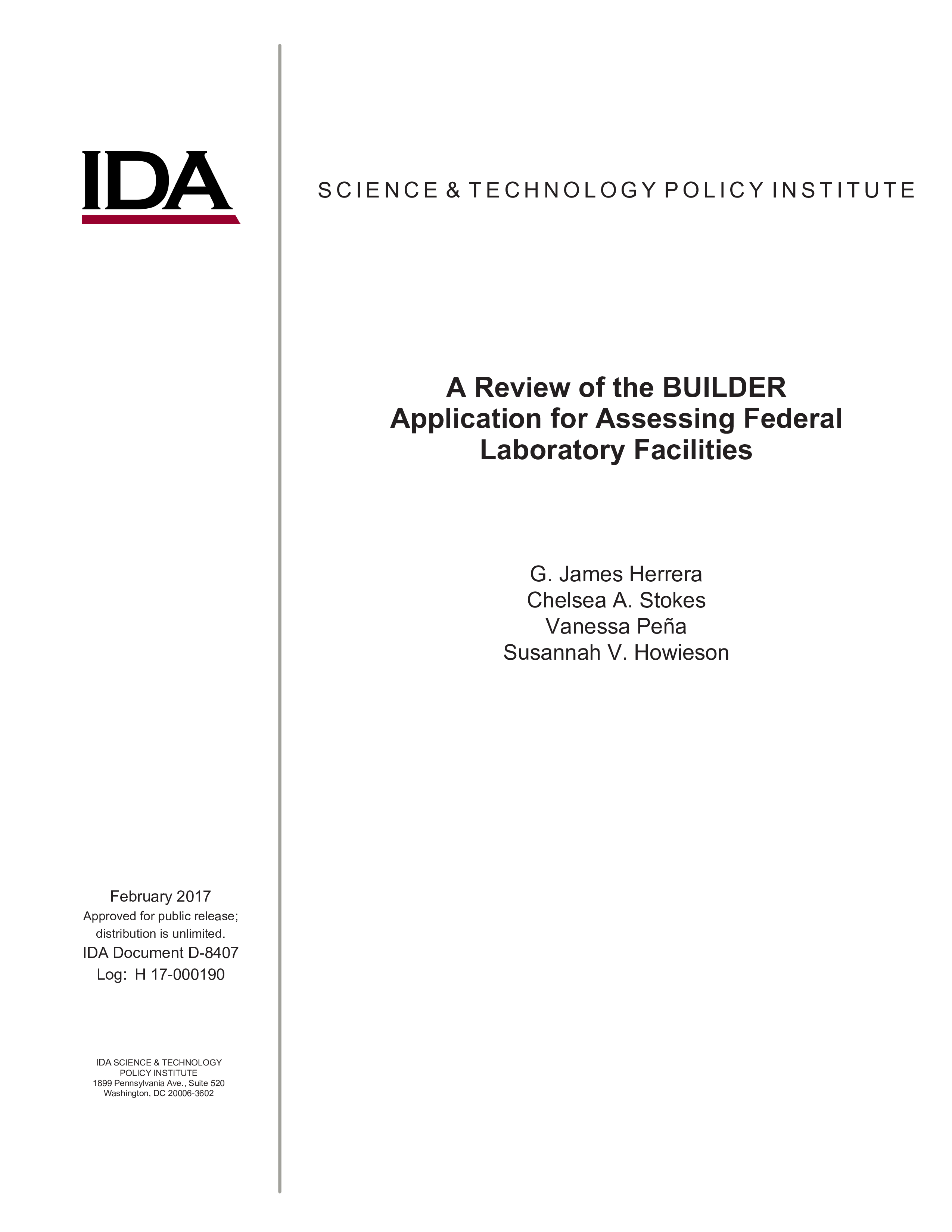 A Review of the BUILDER Application for Assessing Federal Laboratory Facilities
