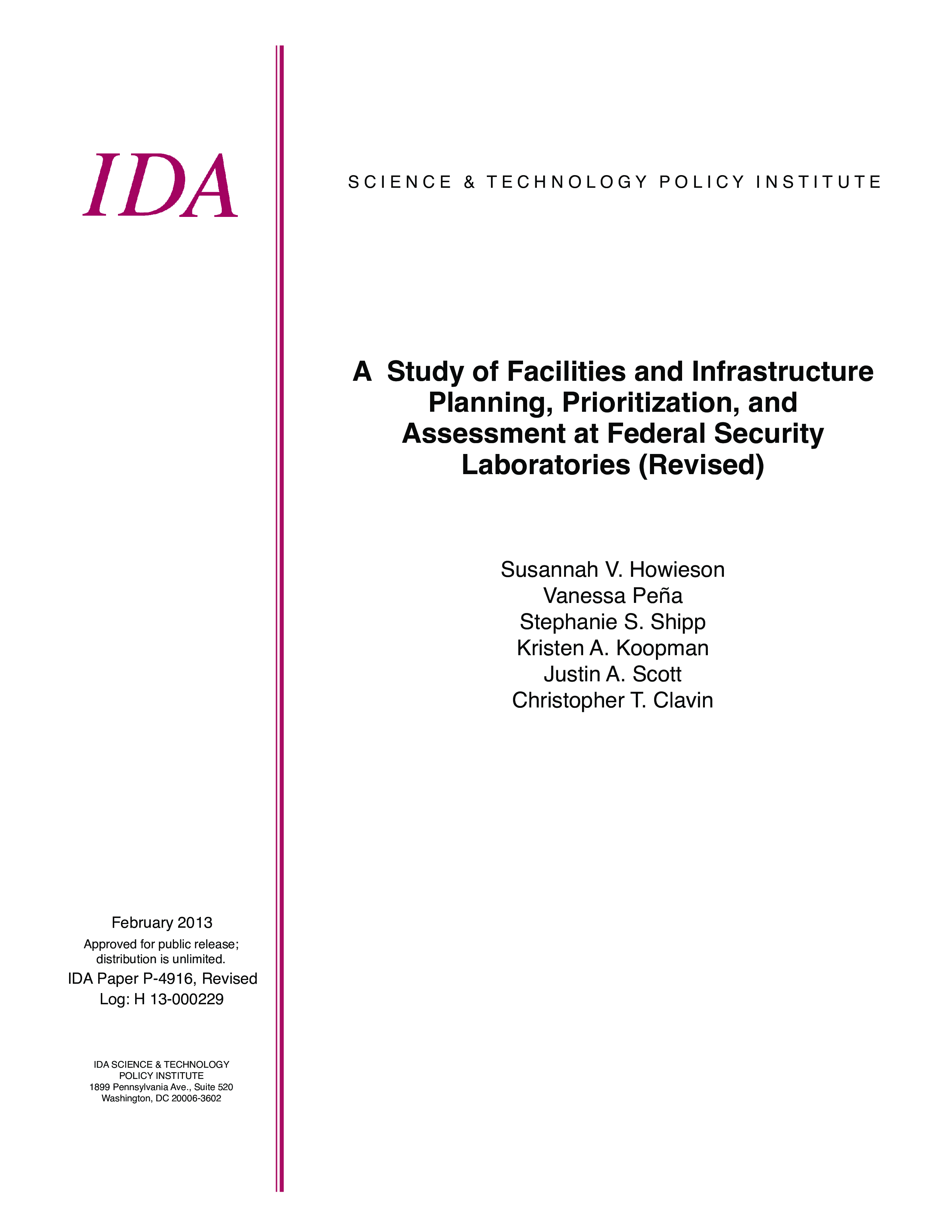A Study of Facilities and Infrastructure Planning, Prioritization, and Assessment at Federal Security Laboratories (Revised)