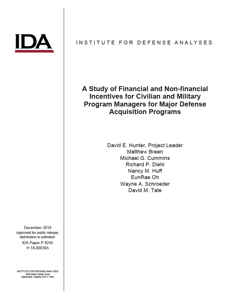 A Study of Financial and Non-financial Incentives for Civilian and Military Program Managers for Major Defense Acquisition Programs