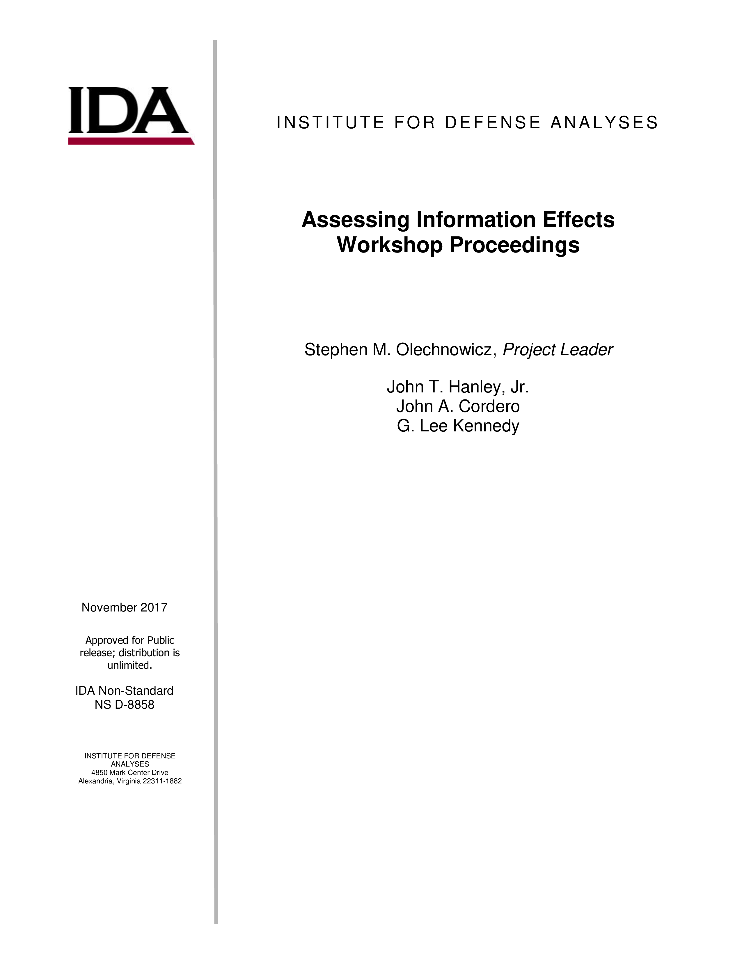 Assessing Information Effects Workshop Proceedings