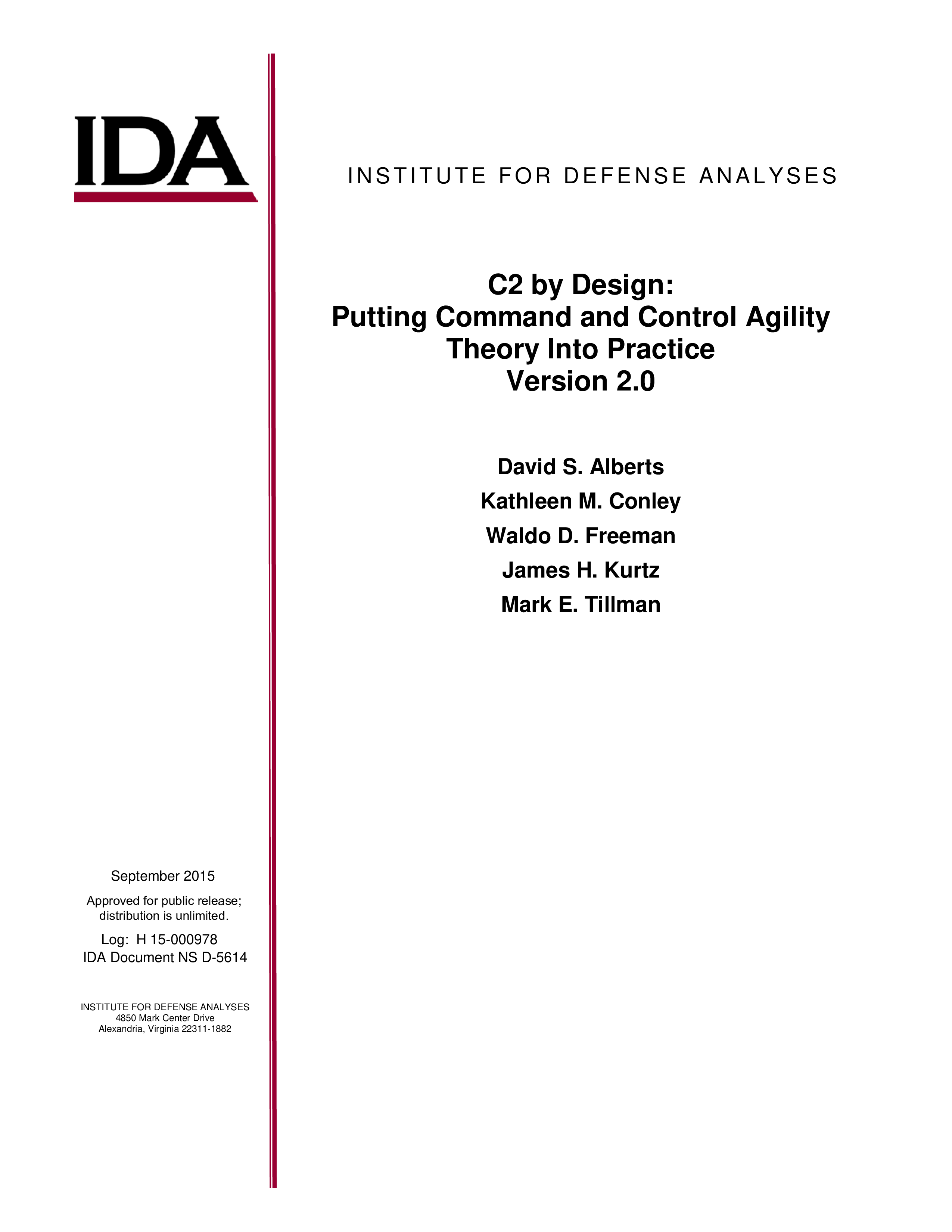 C2 by Design: Putting Command and Control Agility Theory Into Practice Version 2.0
