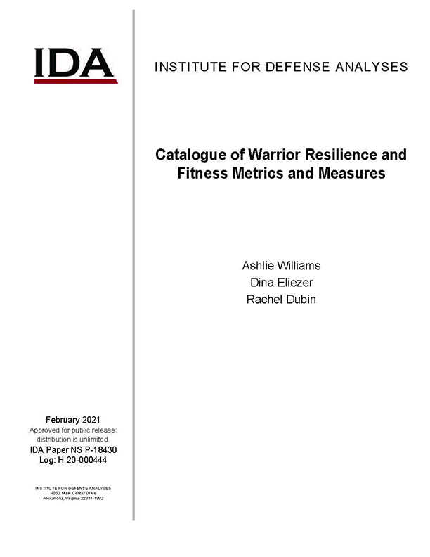 document cover, Catalogue of Warrior Resilience and Fitness Metrics and Measures