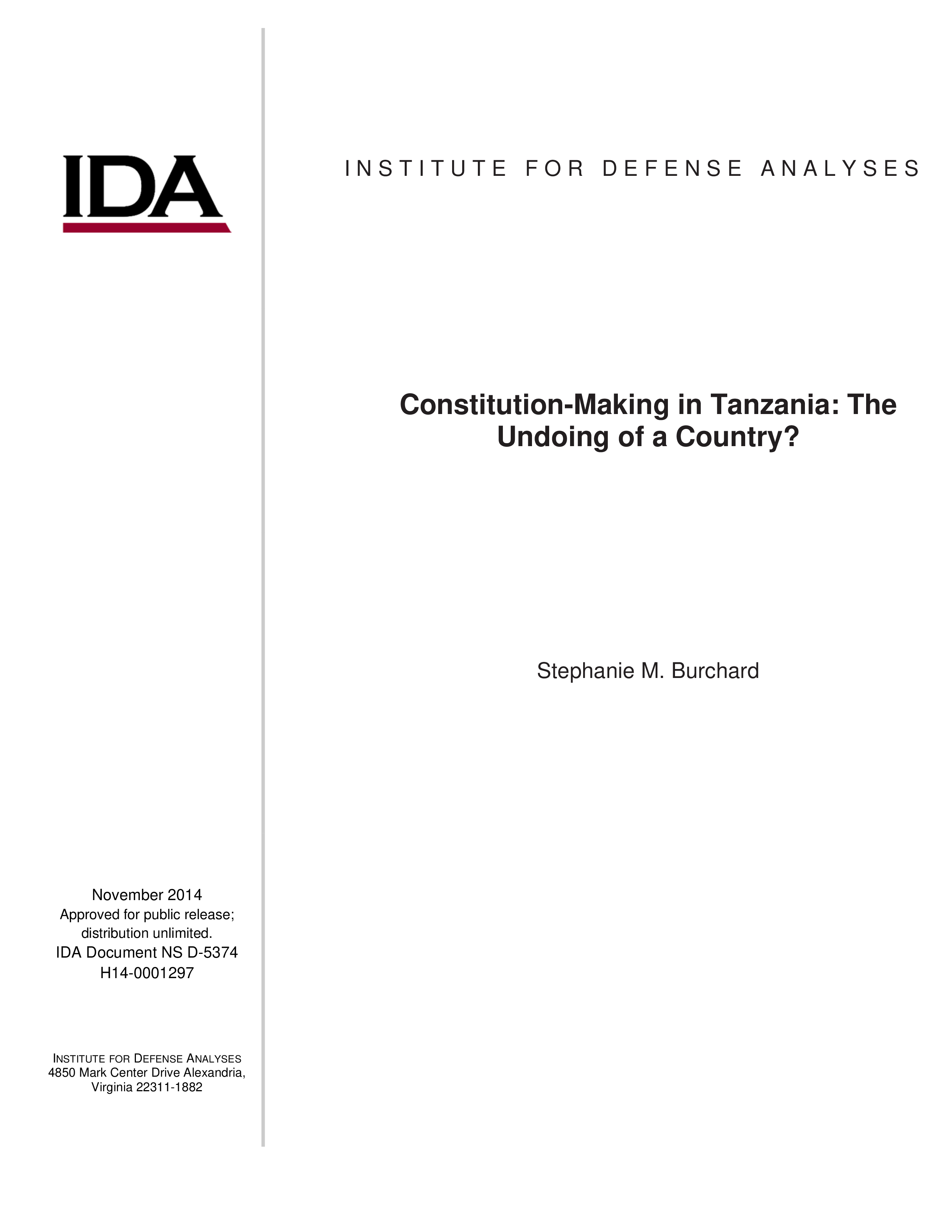 Constitution-Making in Tanzania: The Undoing of a Country?
