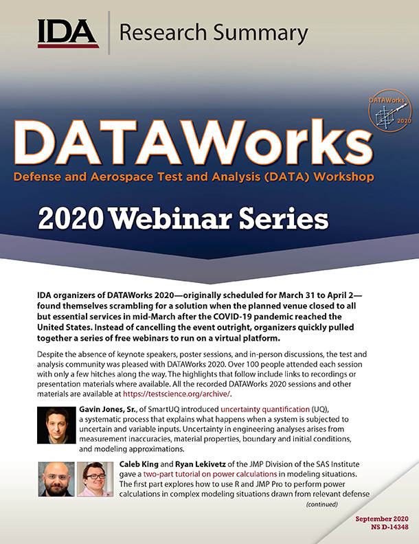 document cover, DATAWorks 2020 Webinar Series