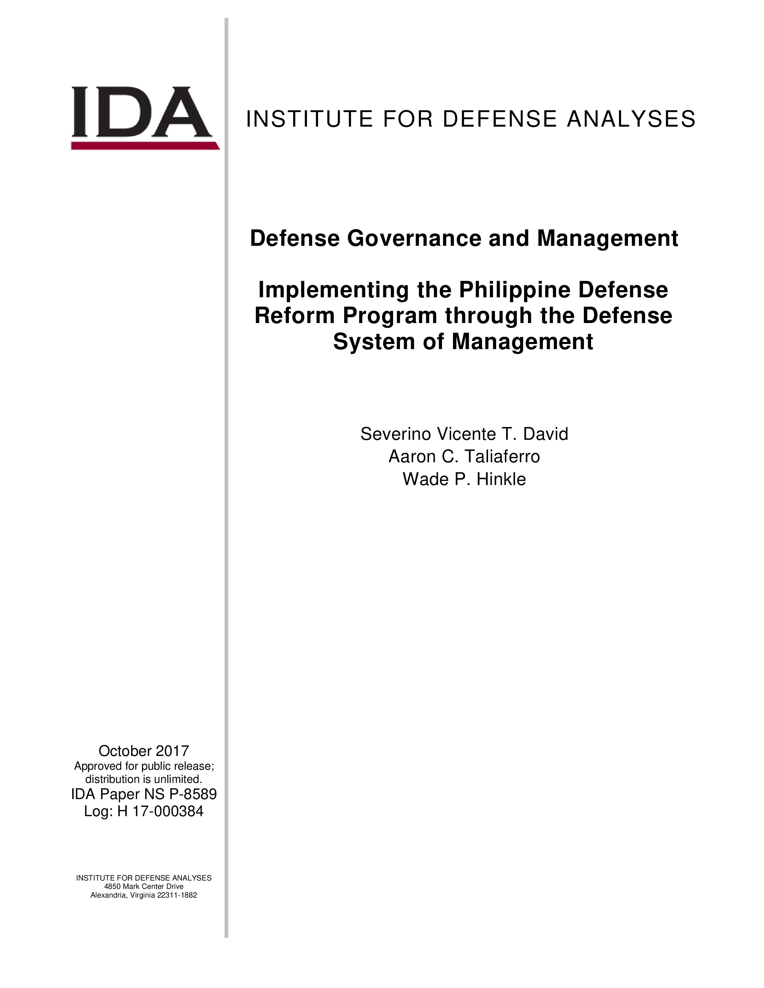 Defense Governance and Management – Implementing the Philippine Defense Reform Program through the Defense System of Management