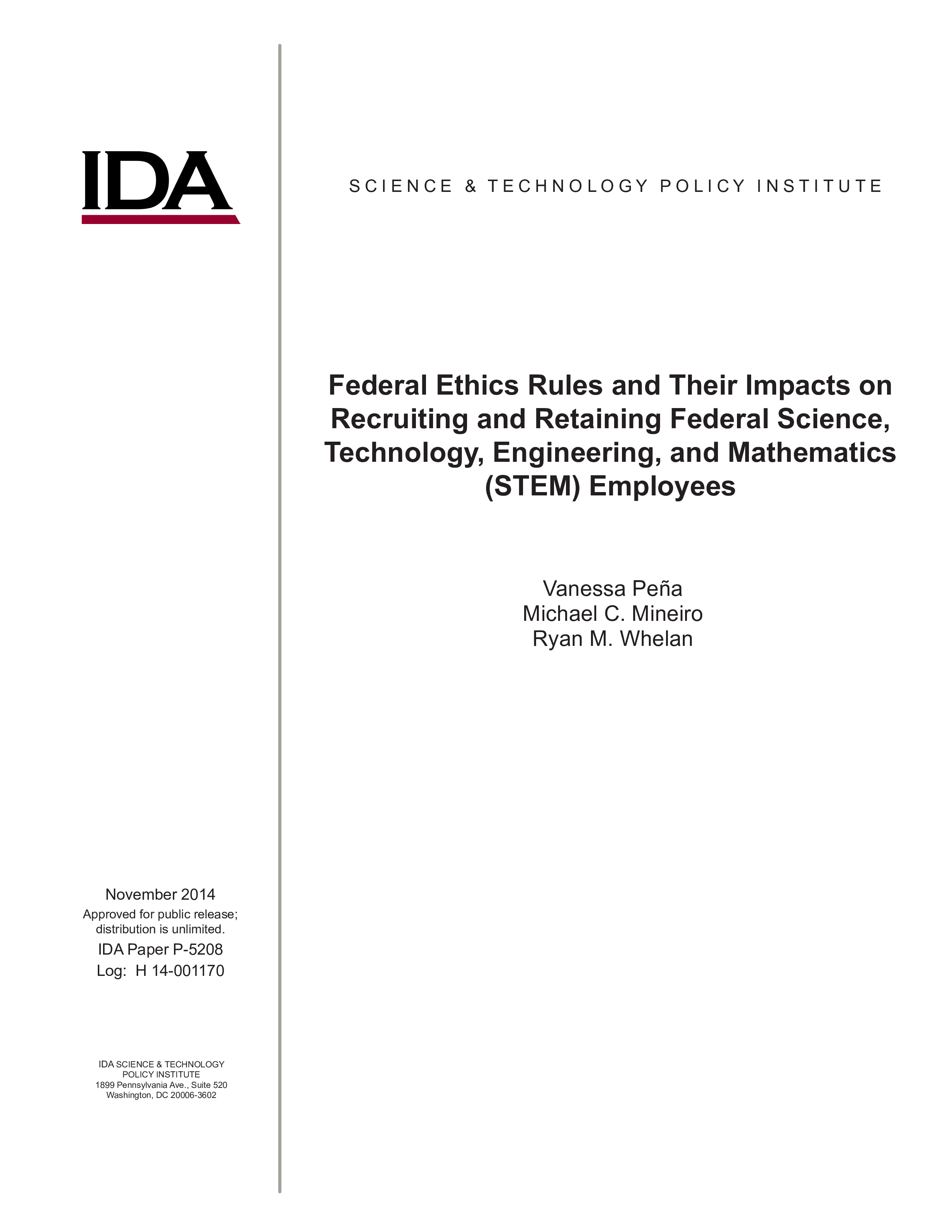 Federal Ethics Rules and Their Impacts on  Recruiting and Retaining Federal Science, Technology, Engineering, and Mathematics (STEM) Employees