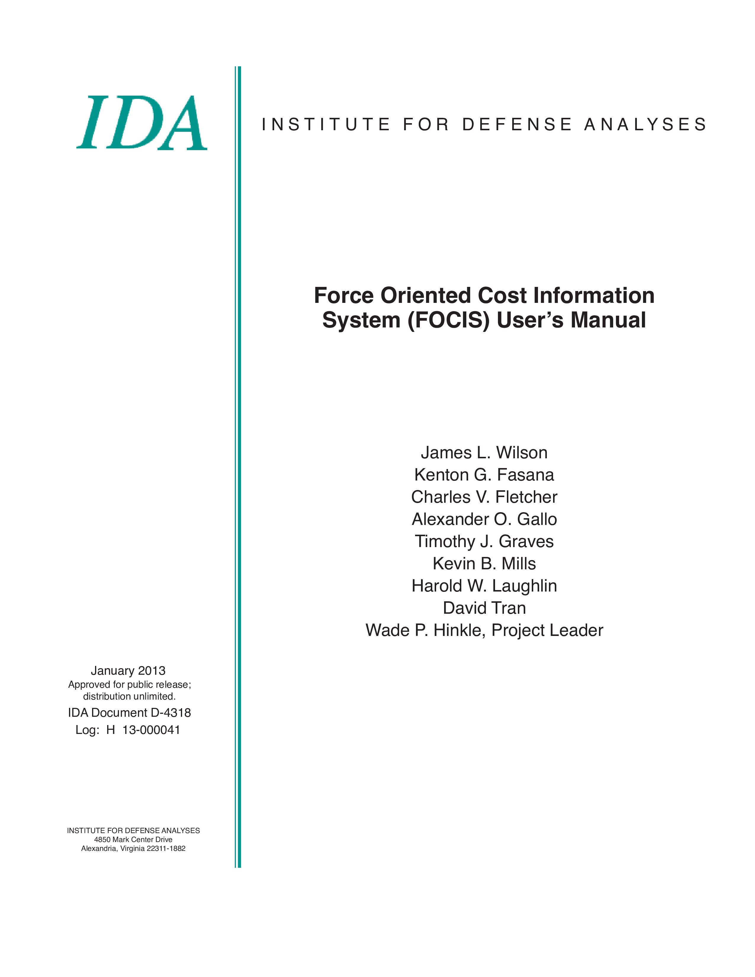 Force Oriented Cost Information System (FOCIS) User's Manual