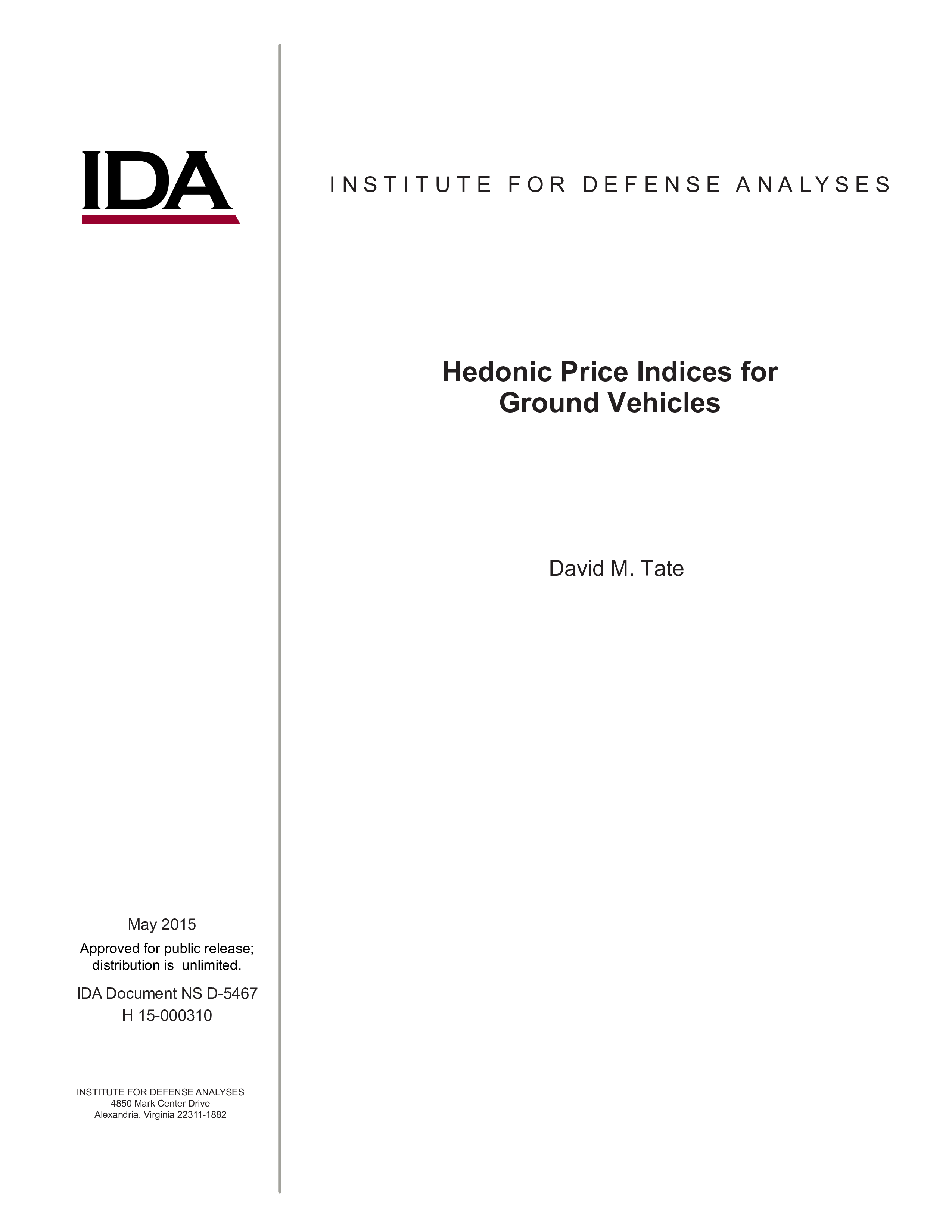Hedonic Price Indices for Ground Vehicles