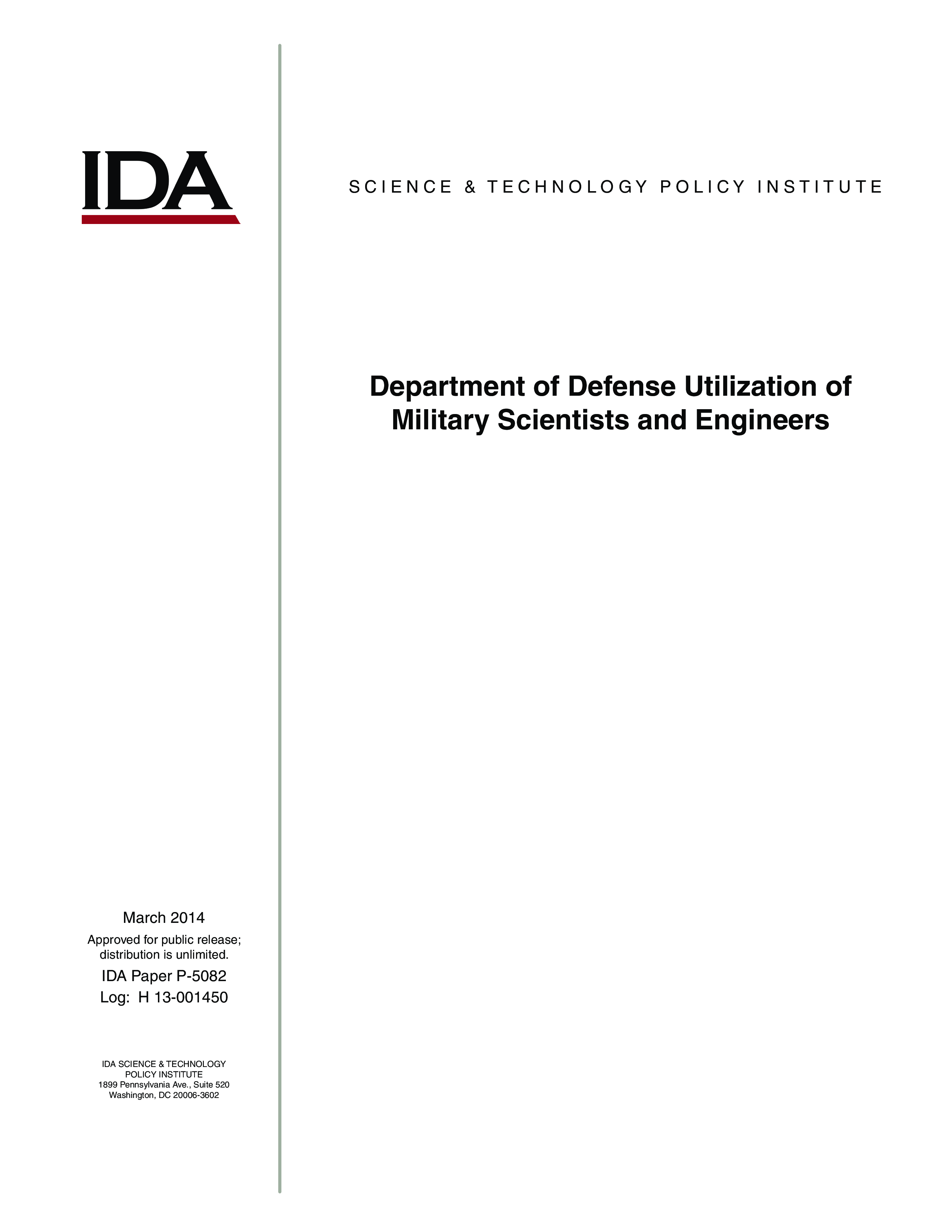 Department of Defense Utilization of Military Scientists and Engineers