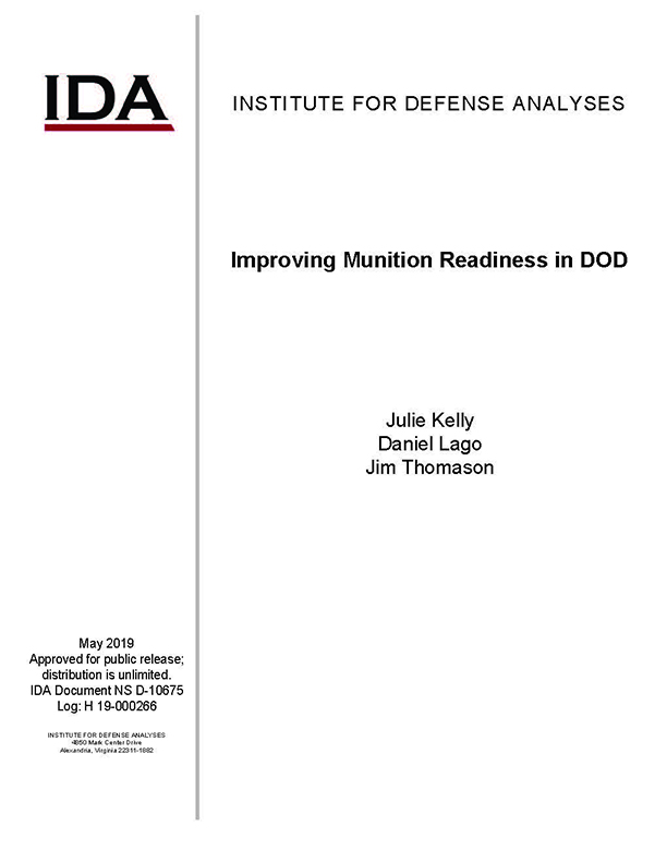 document cover, Improving Munitions Readiness in DoD