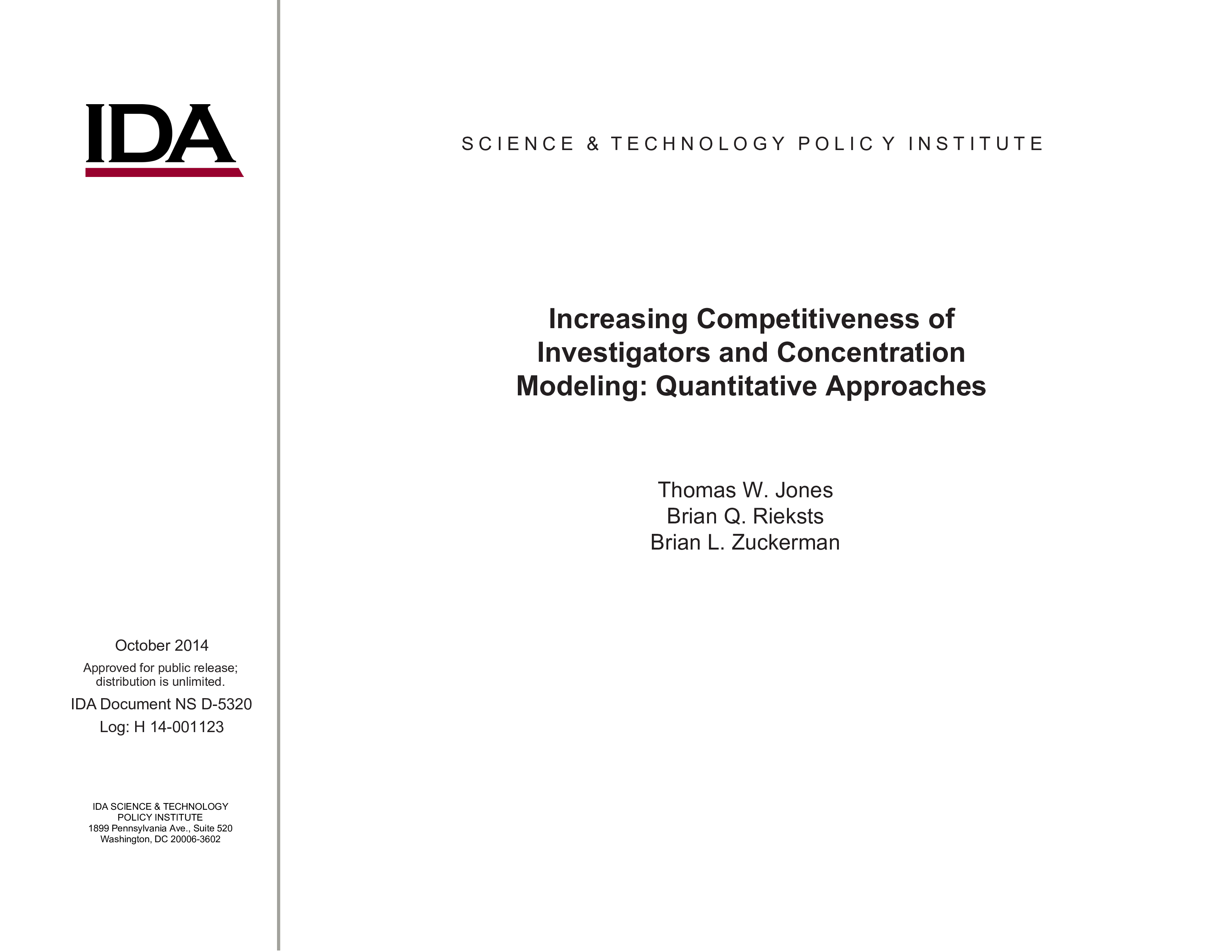 Increasing Competitiveness of Investigators and Concentration Modeling: Quantitative Approaches