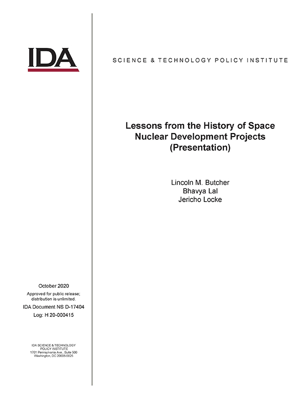 document cover, Lessons from the History of Space Nuclear Development Projects