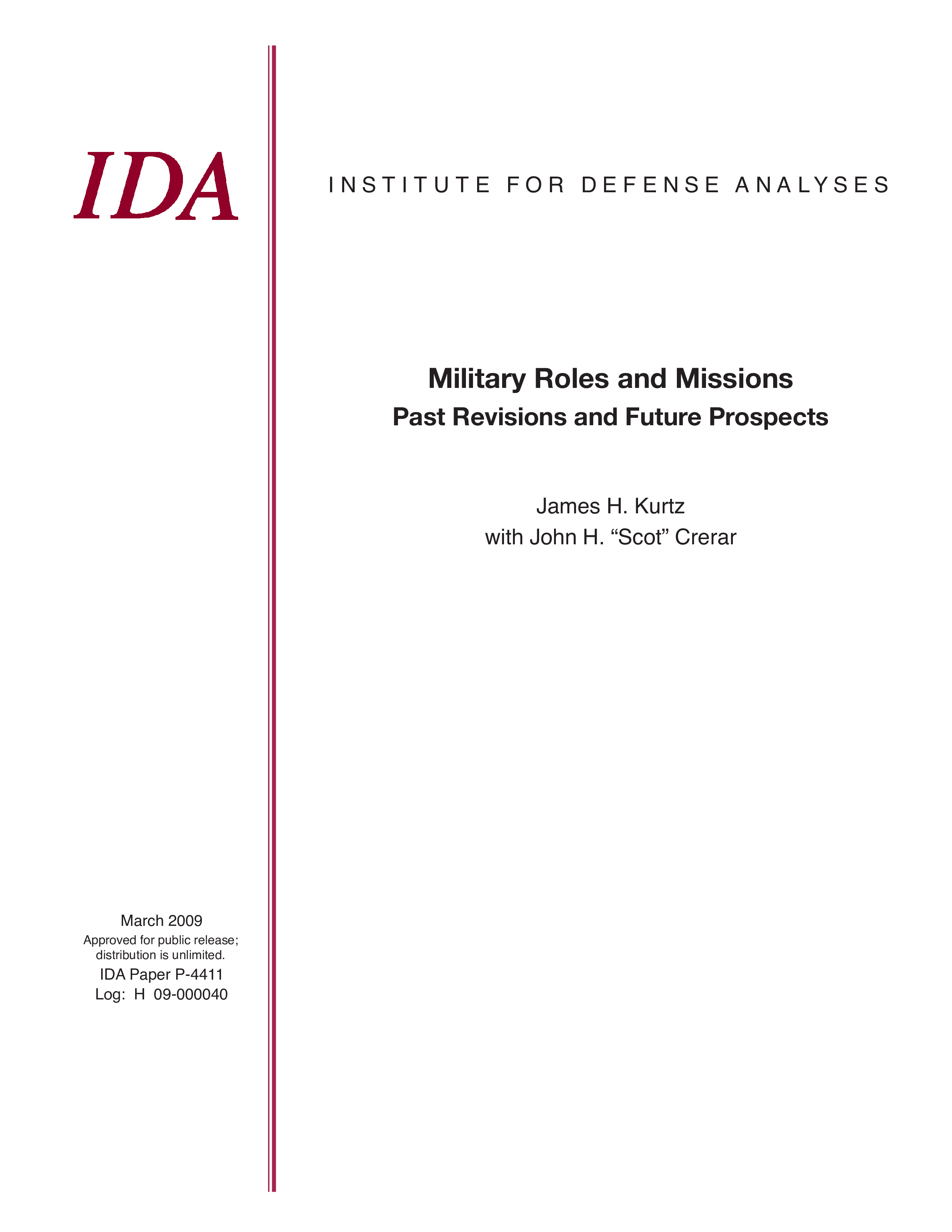 Military Roles and Missions Past Revisions and Future Prospects