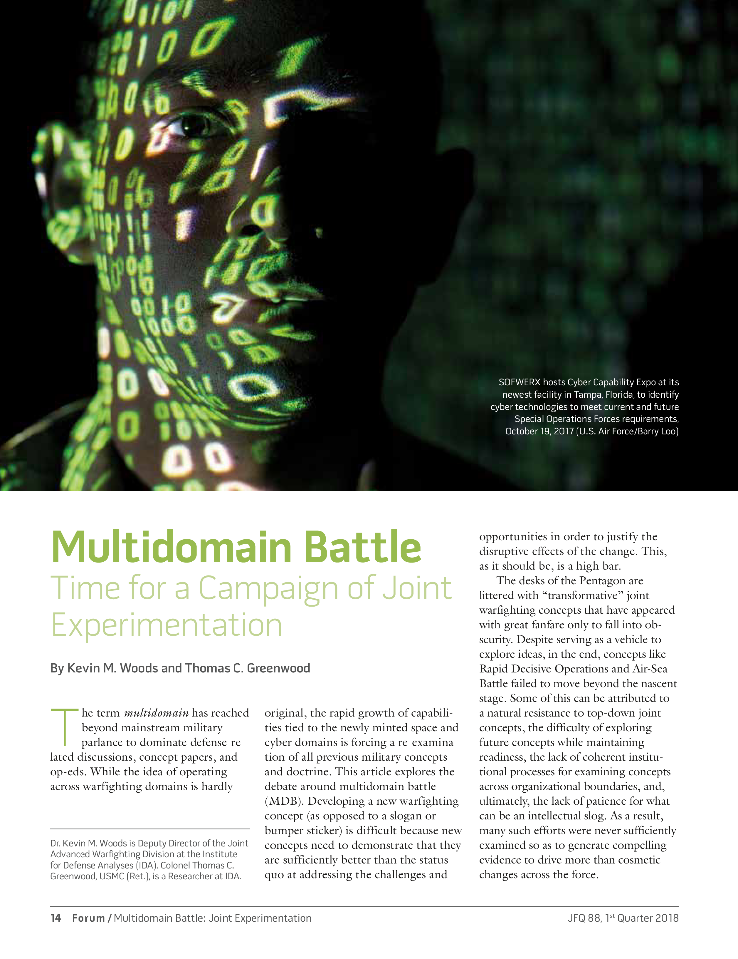 Multi-Domain Battle: Time for a Campaign of Joint Experimentation