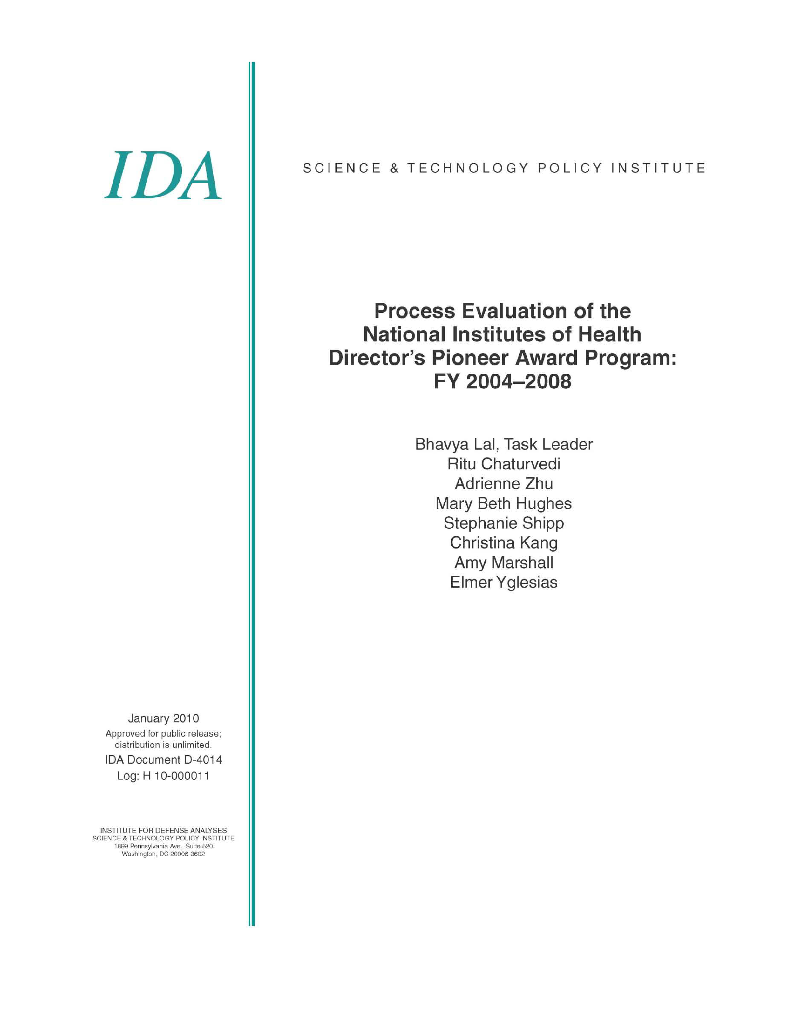Process Evaluation of the National Institutes of Health Director