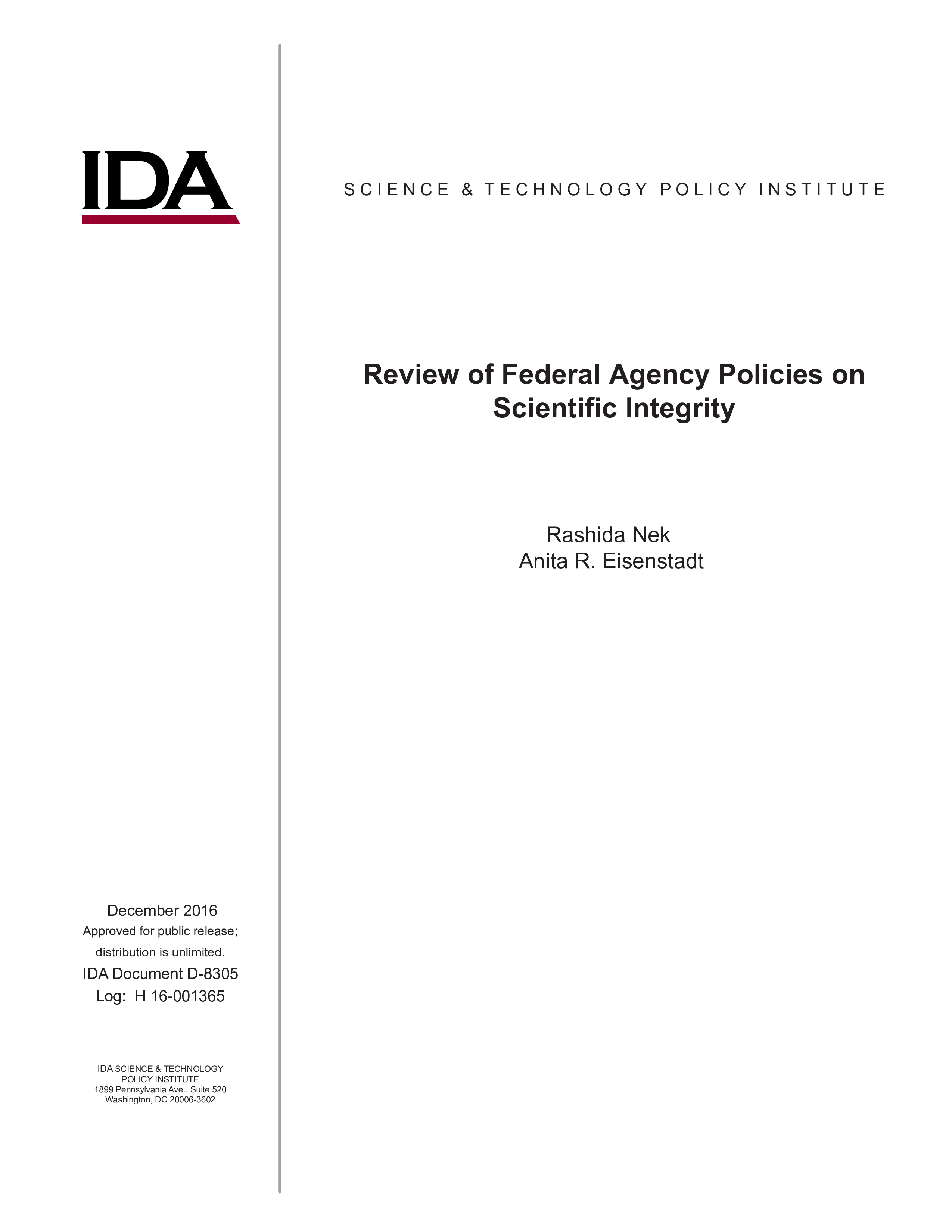 Review of Federal Agency Policies on Scientific Integrity