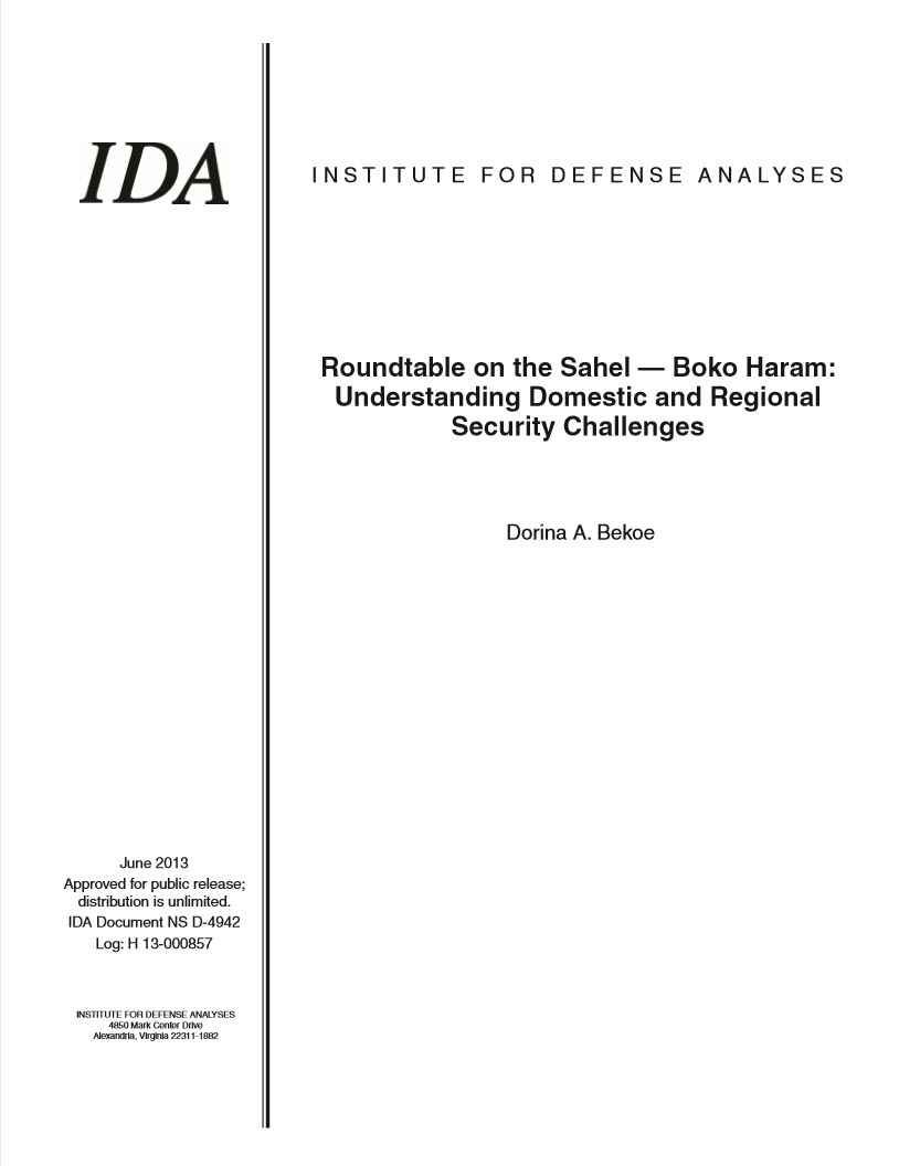 document cover, Roundtable on the Sahel—Boko Haram: Understanding Domestic and Regional Security Challenges