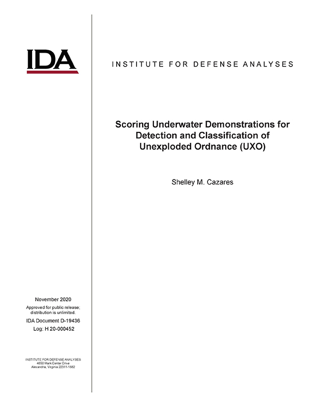 document cover, Scoring Underwater Demonstrations for Detection and Classification of Unexploded Ordnance (UXO)