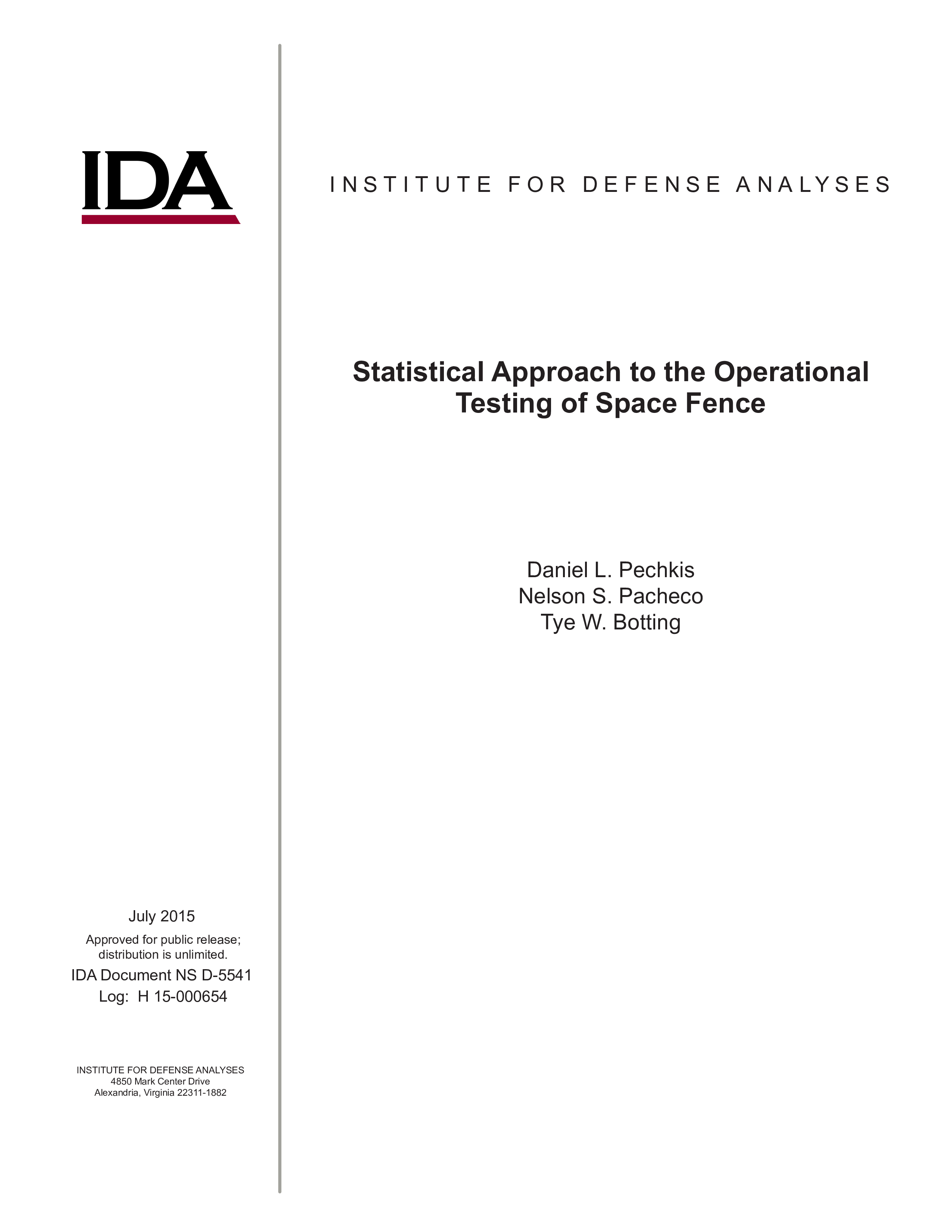 Statistical Approach to the Operational Testing of Space Fence cover image