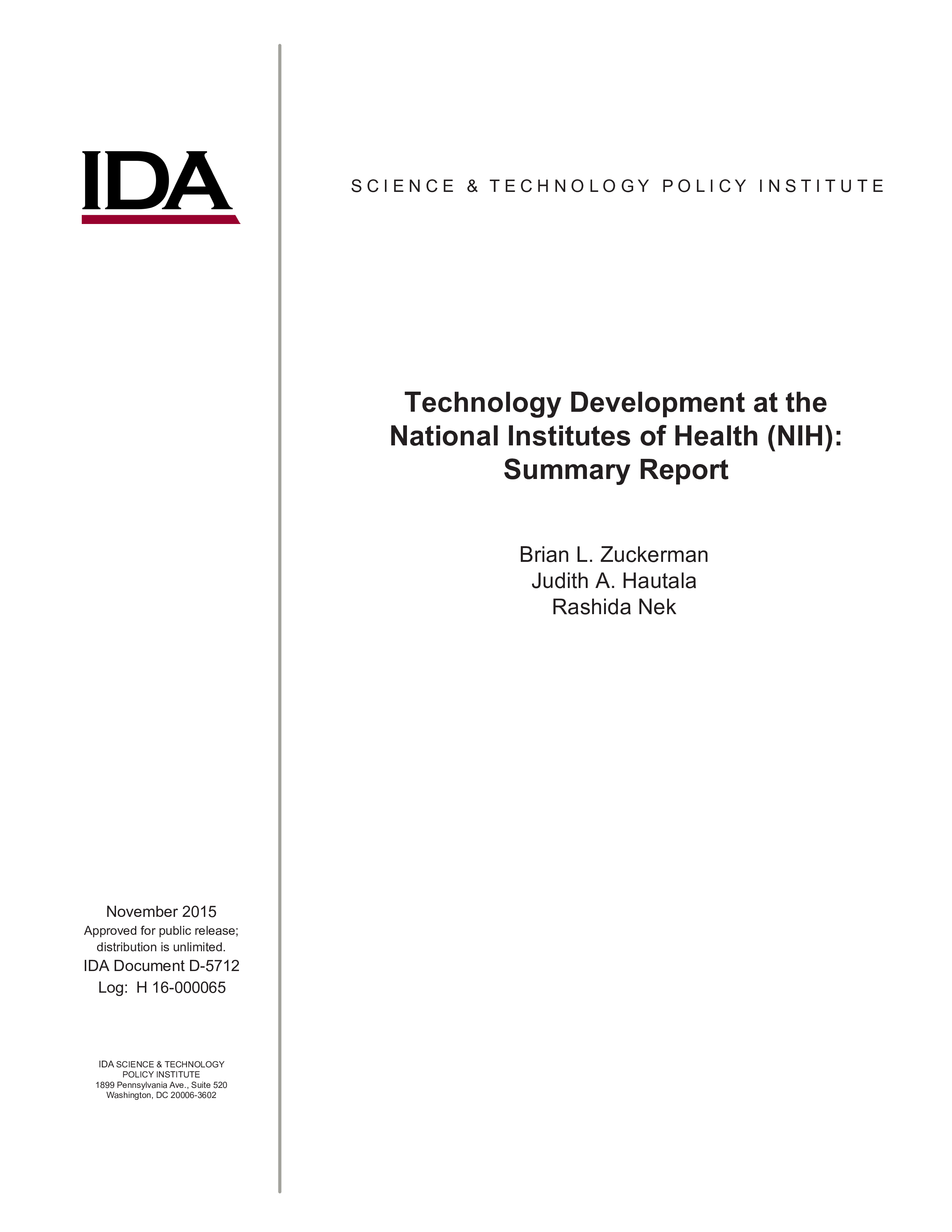 Technology Development at the National Institute of Health (NIH): Summary Report